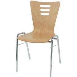 Chaise coque bois Natacha empilable et accrochable vernis couleur