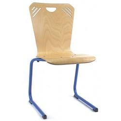 Chaise coque bois Sonia appui sur table pieds alu