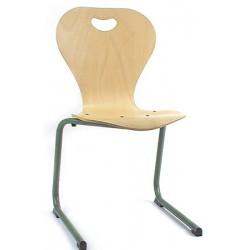 Chaise coque bois Elisa appui sur table pieds alu