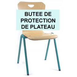Chaise coque bois appui sur table : butée de protection de plateau