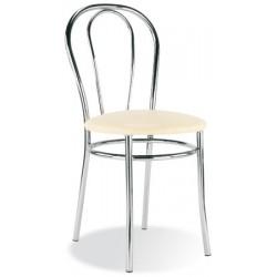 Lot de 2 chaises Tulipan 4 pieds chromé similicuir non feu