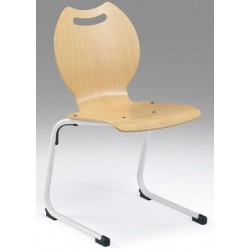 Chaise coque Ambre appui sur table pieds acier finition naturelle T4 à T6