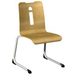 Chaise coque piètement aluminium luge Manon hêtre teinte T6