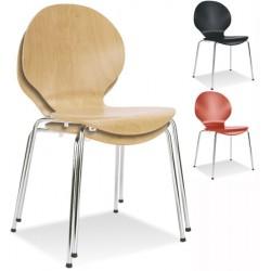 Lot de 4 chaises empilables Apremont 4 pieds chromés hêtre teinté T6