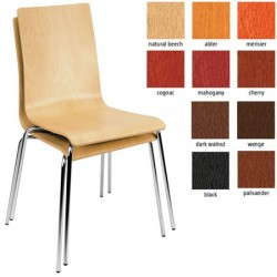Lot de 4 chaises empilables Café 4 pieds chromés monocoque hêtre teinté