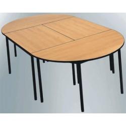 Table de restauration NF 4 pieds Flore stratifié alaise demi ronde 120 cm
