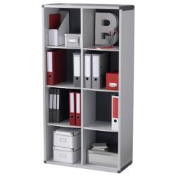 Bibliotheque 8 cases gris et anthracite L79 x P33 x H151,8 cm