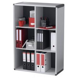 Bibliotheque 6 cases gris et anthracite L79 x P33 x H114,8 cm