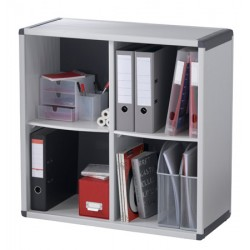 Bibliotheque 4 cases gris et anthracite L79 x P33 x H77,8 cm