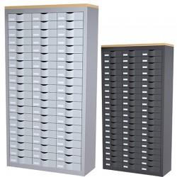 Meuble de classement 3 colonnes 60 tiroirs L87 x P33,5 x H169,5 cm