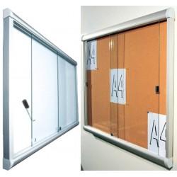 Vitrine intérieure à porte coulissante en verre fond liège 10 A4 (70x108,5 cm)