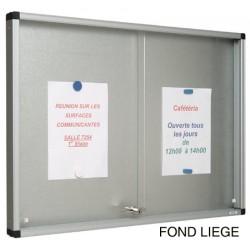 Vitrine Gentilly verre securit portes coulissantes fond liège 100x160 cm