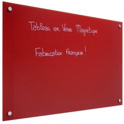Panneau d'affichage magnétique en verre peint rouge 90x120 cm