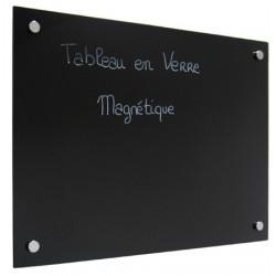 Panneau d'affichage magnétique en verre peint noir 90x120 cm