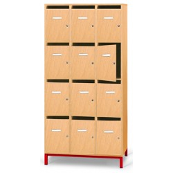 Meuble professeur 12 cases courriers sur socle L90xP45xH183 cm