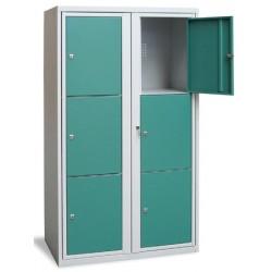 Armoire scolaire casier visitable 2 colonnes 6 cases L90xP50xH158 cm