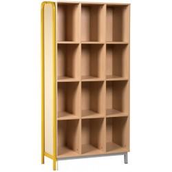 Meuble élèves ouvert 12 cases Piètement latéral L90xH183xP45 cm