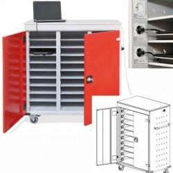 Armoire sécurisée mobile 2 colonnes de 10 cases pour portables et tablettes