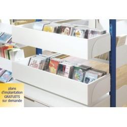 Rayonnage bibliothèque Vénus : bac à CD à insérer