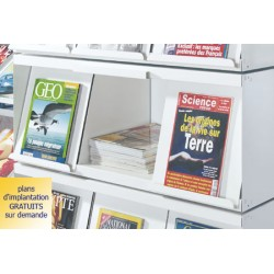 Rayonnage bibliothèque Vénus : présentoir à périodiques 3 cases avec réserve