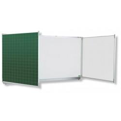 Tryptique émaillé NF éducation E3 mixte blanc et vert 100x400 cm