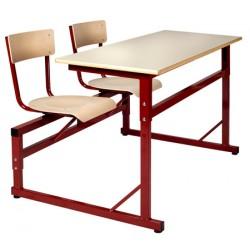 Table scolaire à sièges attenantsréglable Naples 130x50 cm stratifié chant surmoulé T4 à T6