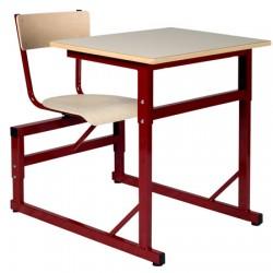 Table scolaire à sièges attenants réglable Naples 70x50 cm stratifié chant alaisé T4 à T6