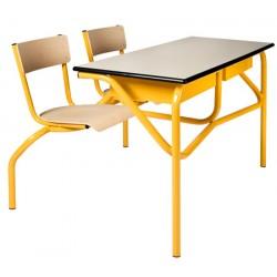 Table scolaire à sièges attenants Venise 130x50 cm mélaminé chant ABS T4 à T6