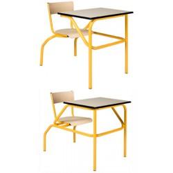 Table scolaire à sièges attenants Venise 70x50 cm mélaminé chant ABS T4 à T6