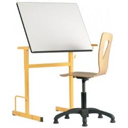Table à dessin d art 70X58cm plateau stratifié blanc