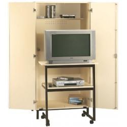 Meuble audiovisuel avec table roulante L90xH185xP60 cm