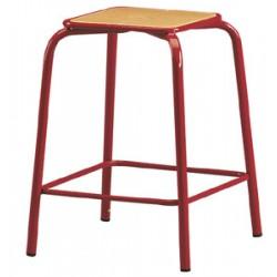 Tabouret assise carrée H59 cm avec repose pieds