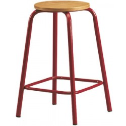 Tabouret assise ronde H70 cm avec repose pieds