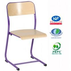Chaise scolaire NF Noémi appui sur table scolaire double galbe T4 à T6