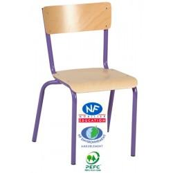 Chaise scolaire Eco 4 pieds assise et dossier hêtre NF T4 à T6