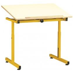 Table pour handicapé 90x65 cm plateau inclinable mélaminé chant alaisé H60 à 80 cm