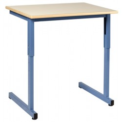 Table scolaire Naples à dégagement latéral réglable 70x50 cm stratifié chant surmoulé  T4 à T6