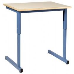 Table scolaire Naples à dégagement latéral réglable 130x50 cm stratifié chant alaisé  T4 à T6