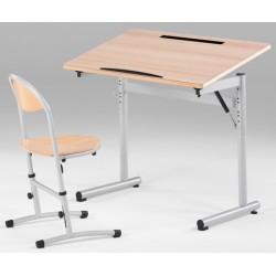 Table scolaire ergonomique 100x60 cm sans casier hauteur réglable