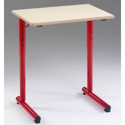 Lot de 2 tables réglables scolaires NF à dégagement latéral Jeanne 70x50 cm stratifiée chant hêtre
