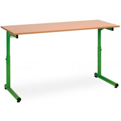 Table scolaire reglable a degagement lateral Meline 130x50cm plateau stratifié chant surmoule T3 a T7