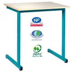 Table scolaire Naples à dégagement latéral NF 130x50 cm mélaminé chant ABS T4 à T6