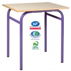 Table scolaire Eco 4 pieds NF 130x50 cm mélaminé chant ABS T4 à T6