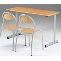 Lot de 2 tables scolaires NF à dégagement latéral Jeanne 130x50 cm stratifiée chant hêtre