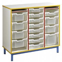 Meuble pour bacs 3 colonnes L104,5xH95xP45,5 cm