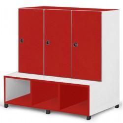 Vestiaire 3 cases portes patères assise et range sacs tablettes L104xP80xH125 cm