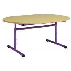 Table maternelle réglable ovale 120x90 cm stratifié chants alaisés