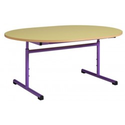 Table maternelle réglable ovale 120x90 cm mélaminé chants PVC