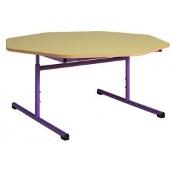 Table maternelle réglable octogonale ø 120 cm mélaminé chants PVC