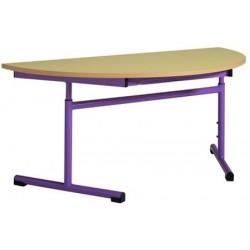 Table maternelle réglable 1/2 ronde ø 120 cm mélaminé chants PVC